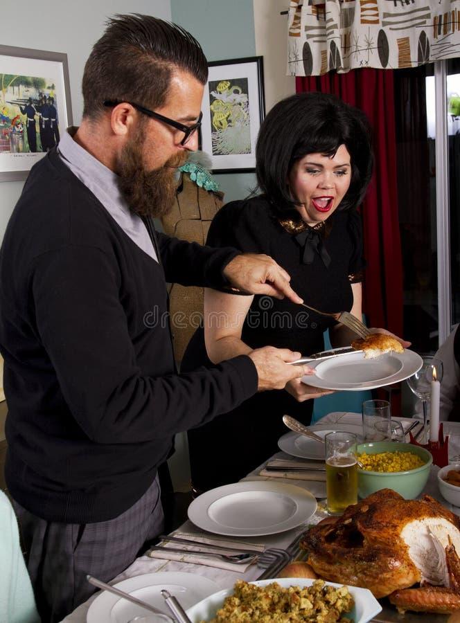 Family Thanksgiving Dinner Turkey Couple stock photo