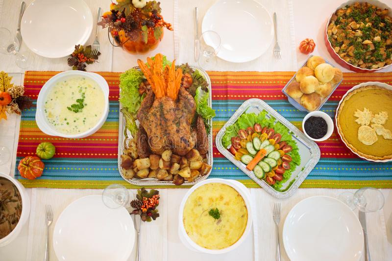 Thanksgiving dinner. Turkey table setting royalty free stock photography