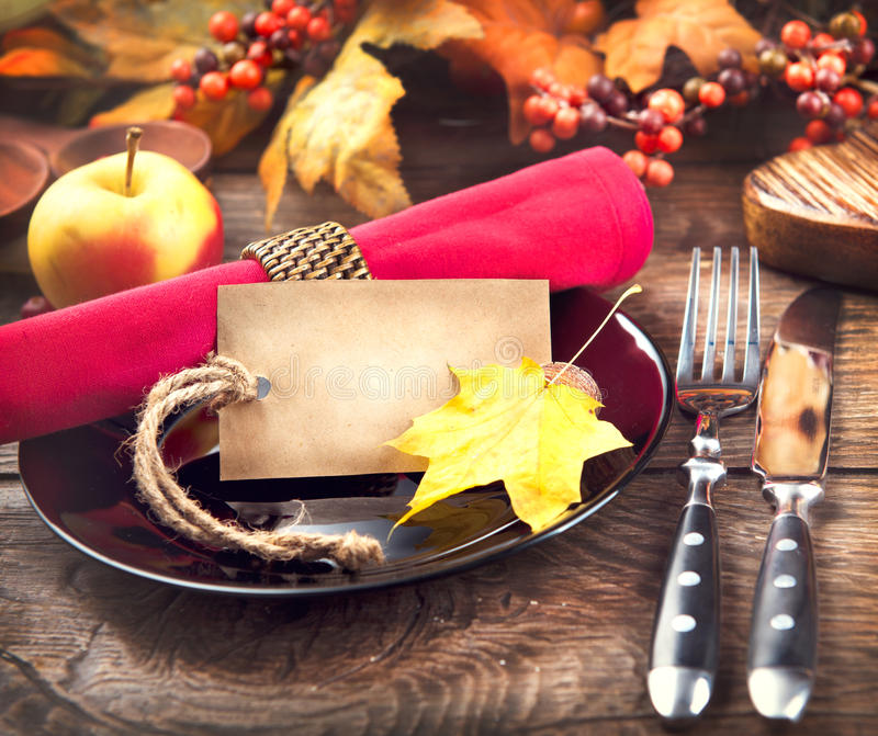 Thanksgiving dinner wooden table served royalty free stock image