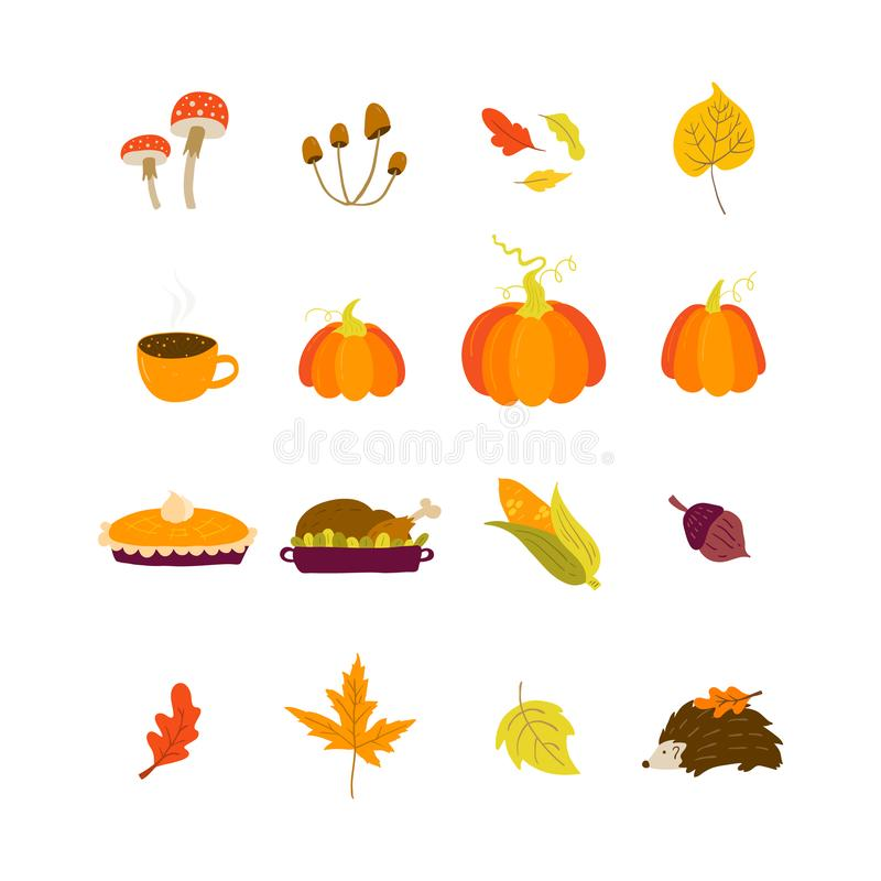 Thanksgiving elements in hand drawn style - mushrooms, acorn, oak. Vector Thanksgiving elements in hand drawn style - mushrooms, acorn, oak and maple leaves vector illustration