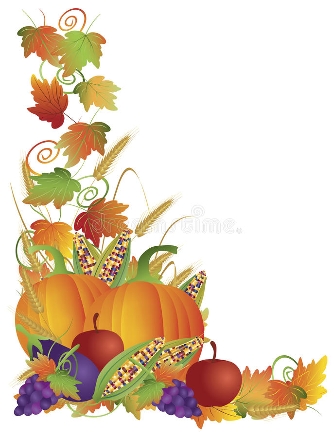 Free Thanksgiving Fall Harvest And Vines Border Stock Images - 27112344