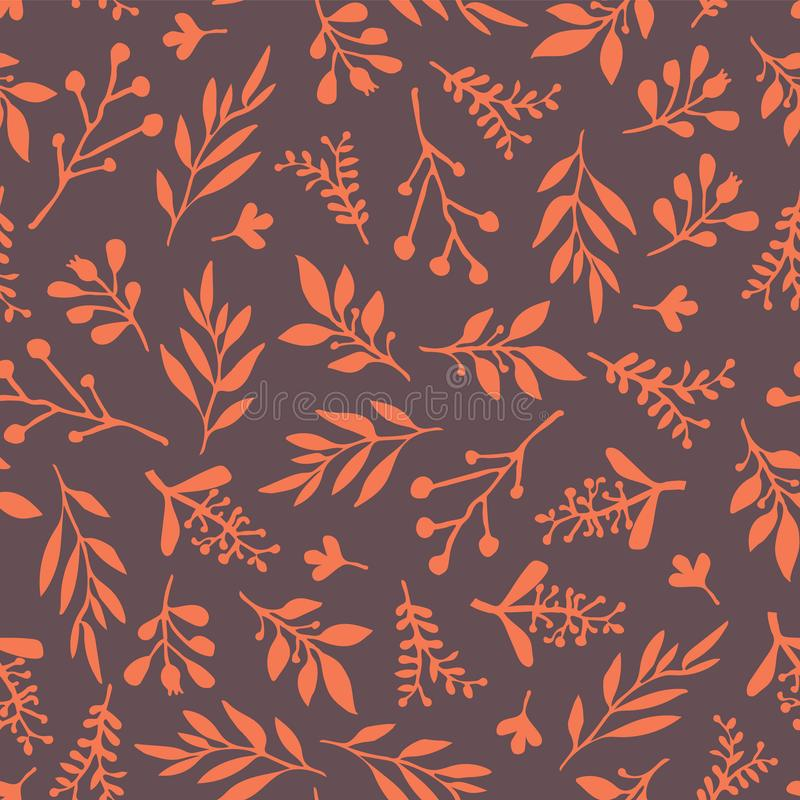 Thanksgiving fall leaf seamless vector background. Thanksgiving Fall leaves seamless vector background. Orange leaves on purple background. Abstract nature royalty free illustration