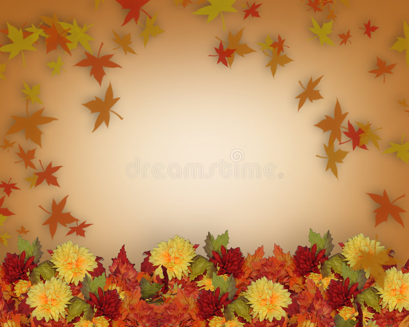 Thanksgiving Fall Leaves and Flowers border design. Image and illustration composition for Thanksgiving, Fall, Autumn Leaves Frame or page border or template royalty free illustration