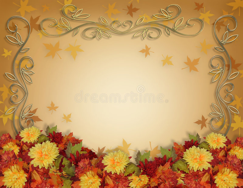 Thanksgiving Fall Leaves and Flowers border design. Image and illustration composition for Thanksgiving, Fall, Autumn Leaves Frame , page border or template vector illustration