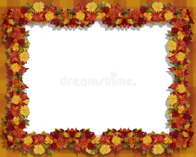 Thanksgiving Fall Leaves And Flowers Frame Stock Illustration ...