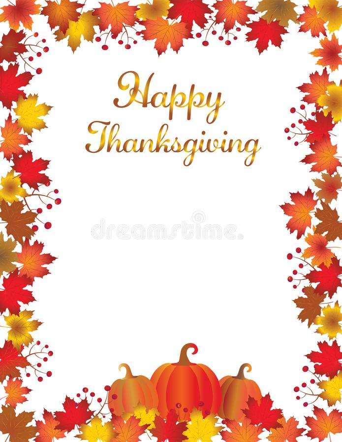 Thanksgiving fall leaves frame isolated on white background. royalty free illustration