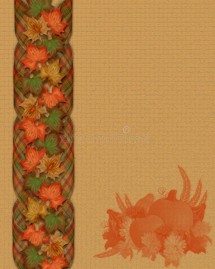 Thanksgiving fall leaves ribbons. Image and Illustration composition of colorful fall leaves and ribbons for Autumn, Thanksgiving, Halloween, card, stationery royalty free illustration