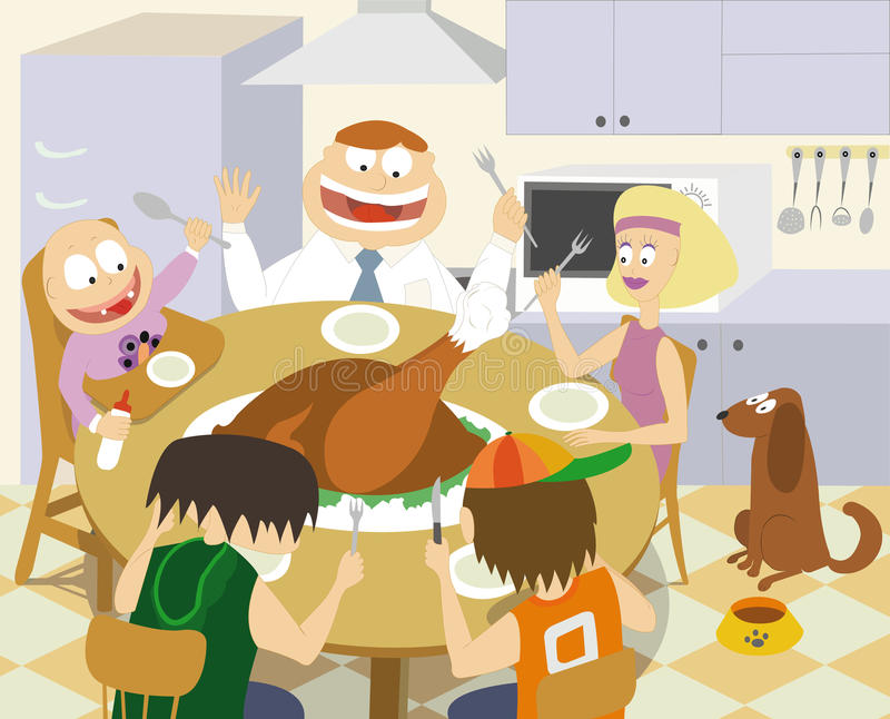 Thanksgiving family stock illustration