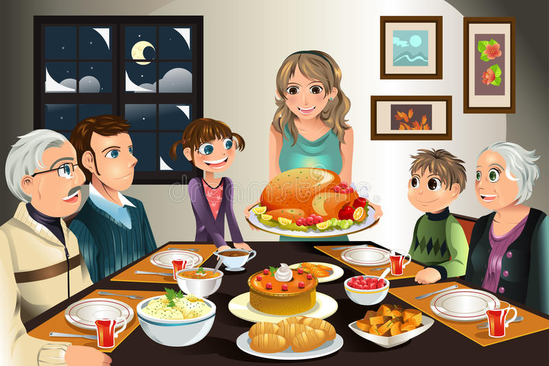 Thanksgiving family dinner. A vector illustration of a family having a Thanksgiving dinner together royalty free illustration