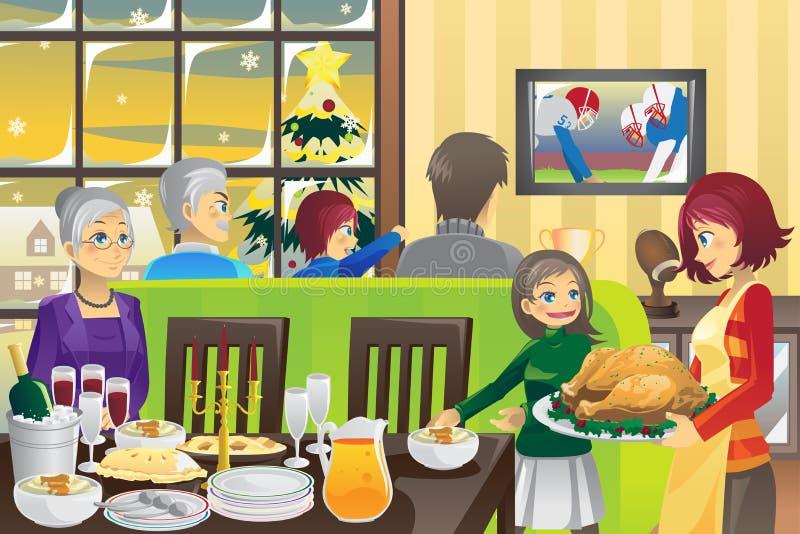 Thanksgiving family dinner stock illustration