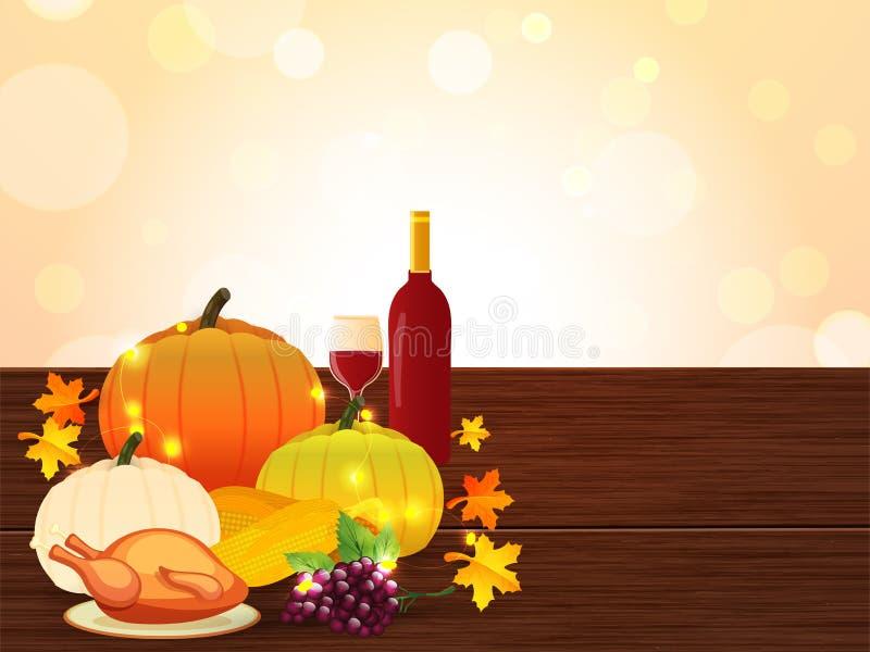 Thanksgiving festival celebration concept with illustration of f stock illustration