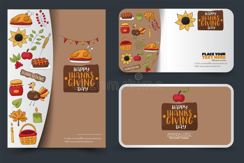Thanksgiving flyer and banner or business card set. Poster template for a party invitation. Calligraphic inscription. Vector illustration royalty free illustration