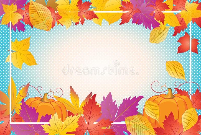Thanksgiving frame maple foliage frame vintage royalty free illustration