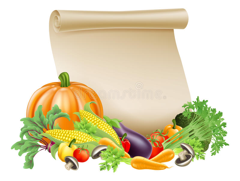 Thanksgiving or fresh produce scroll vector illustration