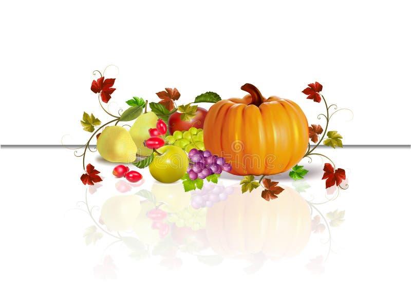 Thanksgiving, fruits d'automne et potiron illustration stock