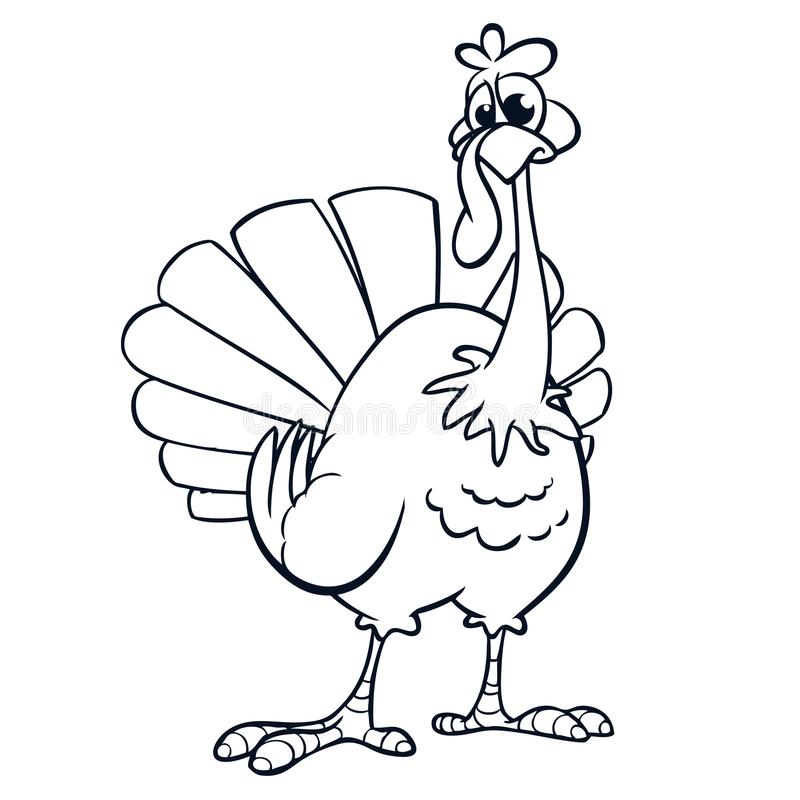 Thanksgiving Funny Cartoon Outline. Vector Cartoon Turkey For ...