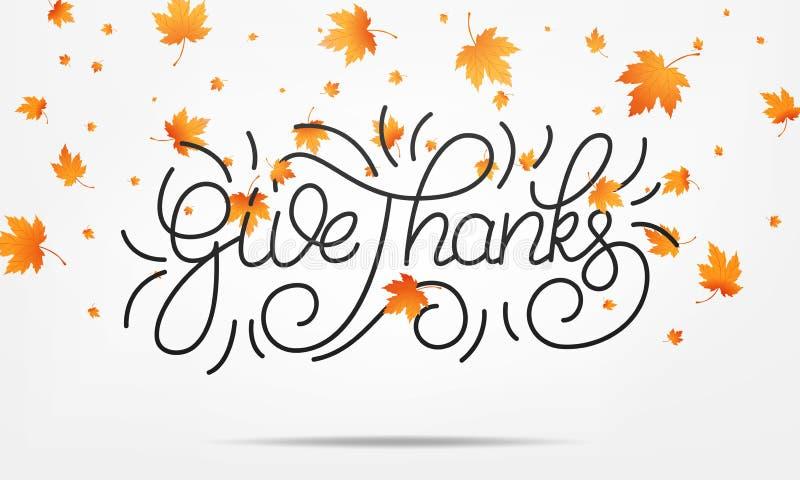 thanksgiving Geben Sie den beschriftenden Dank und fallenden Herbstlaub Danksagungstageshintergrund vektor abbildung