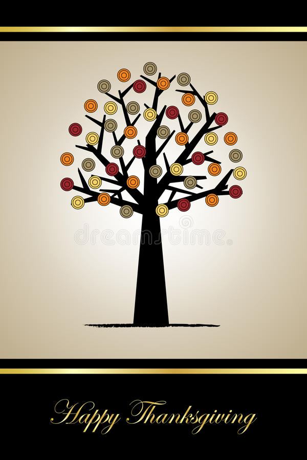 Thanksgiving greeting card. Illustration of an elegant greeting card with stylized tree,useful for Thanksgiving.EPS file available