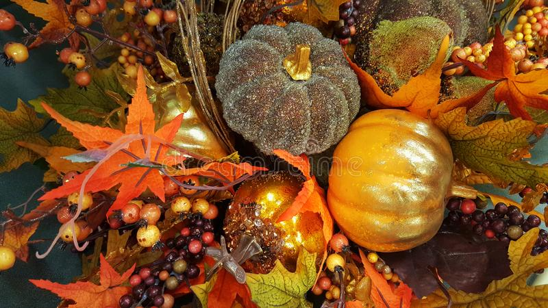 Thanksgiving & Halloween decor with pumpkins. Fall, Autumn. royalty free stock photos