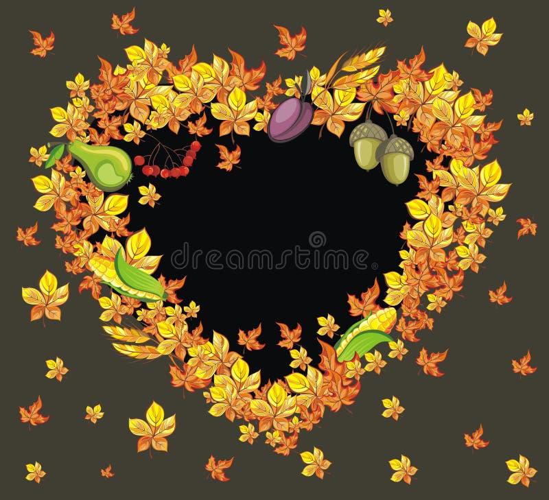 Thanksgiving heart frame stock illustration