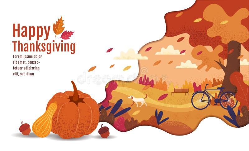Thanksgiving heureux, automne, calibre de conception de bannière, illustration de vecteur, dessin, bande dessinée, style de peint illustration libre de droits