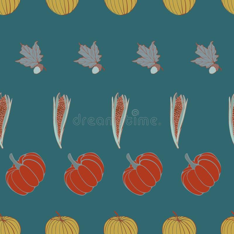 Thanksgiving heureux de récolte barré en vecteur de Rich Teal Fall Print Repeat Pattern illustration de vecteur