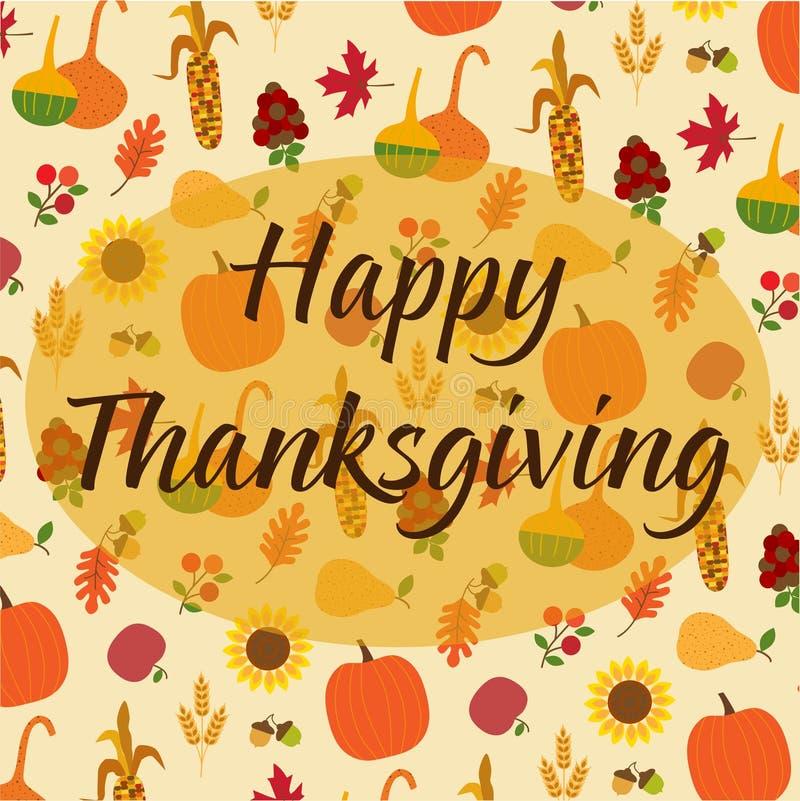 Thanksgiving heureux sur le modèle jeté en l'air de nature d'automne illustration de vecteur