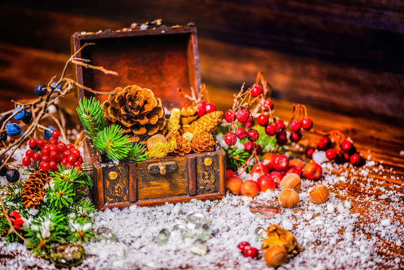Thanksgiving holiday background with opened chest treasure, apple, nuts, cones, berries, fir tree and snow, rural style, close up stock photo
