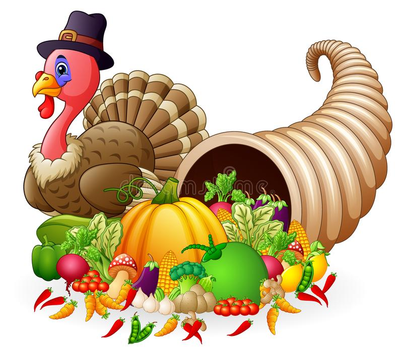 Thanksgiving horn of plenty cornucopia full of vegetables and fruit with cartoon pilgrim turkey. Illustration of Thanksgiving horn of plenty cornucopia full of stock illustration