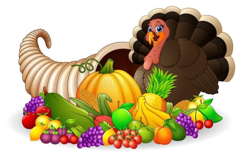 Thanksgiving horn of plenty cornucopia full of vegetables and fruit with cartoon turkey bird. Illustration of Thanksgiving horn of plenty cornucopia full of royalty free illustration