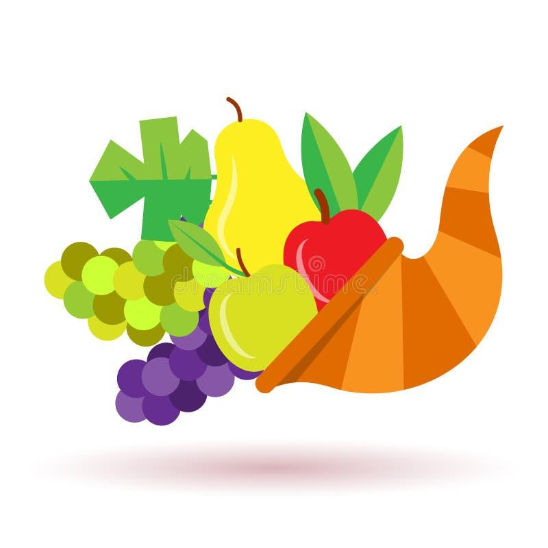 Thanksgiving Horn of plenty with fruits stock illustration