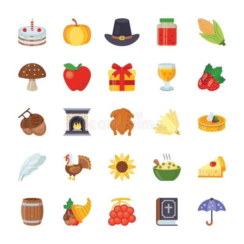Thanksgiving Icons Set stock illustration