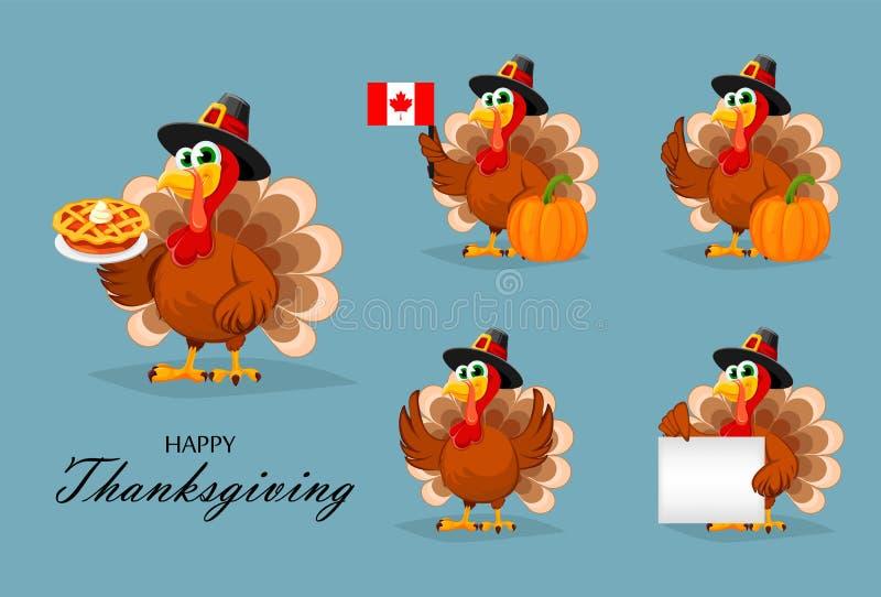 Thanksgiving-kalkon, fem kuvert vektor illustrationer
