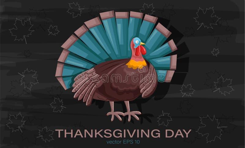 Thanksgiving-kalkon med turkosfjädrar royaltyfri illustrationer