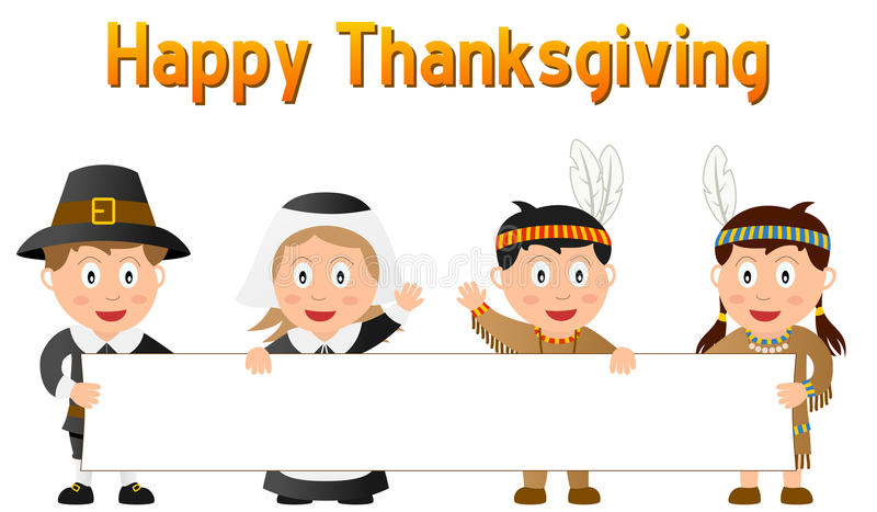 Thanksgiving Kids and Banner. Thanksgiving Pilgrim and Native (or Indian) kids holding a blank banner. Eps file available stock illustration