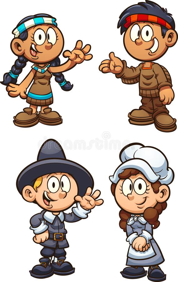 Native American and Pilgrim Thanksgiving kids. royalty free illustration