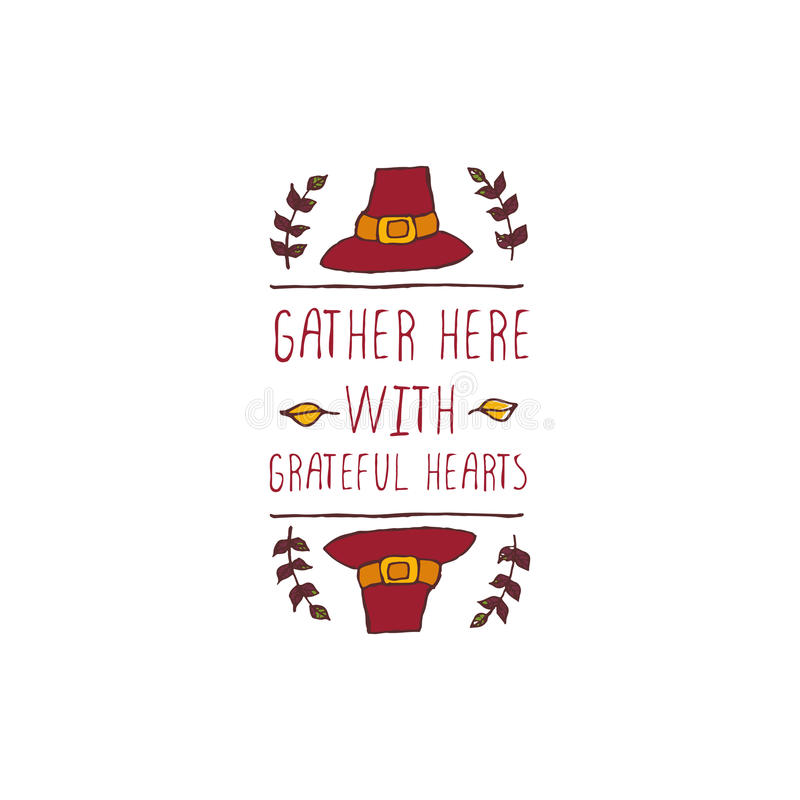 Thanksgiving label with text on white background stock illustration