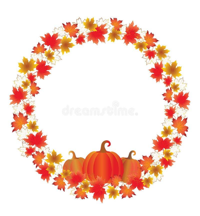 Thanksgiving leaves circle border isolated on White. stock illustration