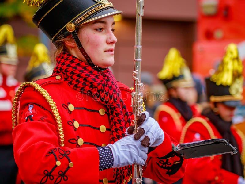 Thanksgiving Macy Parade 2016. Portland, Oregon, USA - November 25, 2016: Camas High School Marching Band in the annual My Macy's holiday Parade across Portland royalty free stock photography