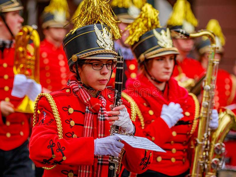 Thanksgiving Macy Parade 2016. Portland, Oregon, USA - November 25, 2016: Camas High School Marching Band in the annual My Macy's holiday Parade across Portland royalty free stock images