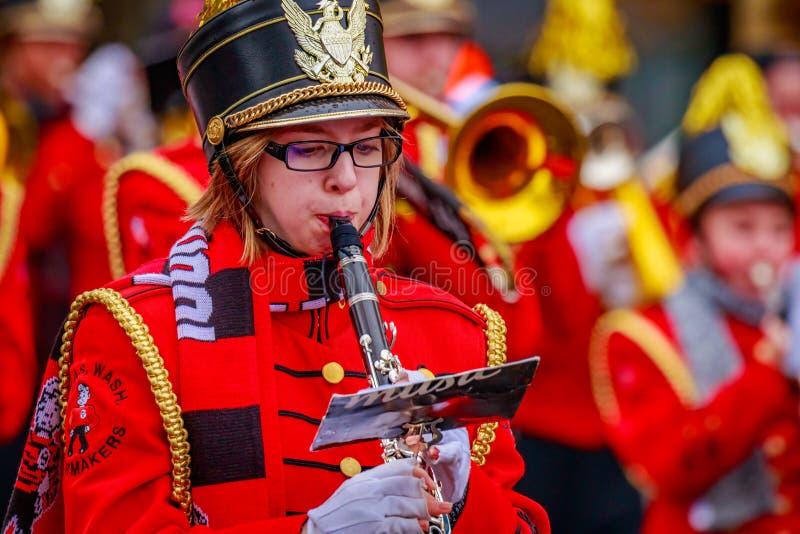 Thanksgiving Macy Parade 2016. Portland, Oregon, USA - November 25, 2016: Camas High School Marching Band in the annual My Macy's holiday Parade across Portland royalty free stock photo