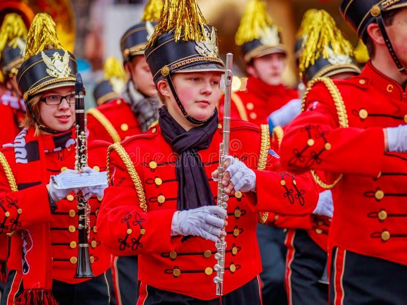 Thanksgiving Macy Parade 2016. Portland, Oregon, USA - November 25, 2016: Camas High School Marching Band in the annual My Macy's holiday Parade across Portland stock image