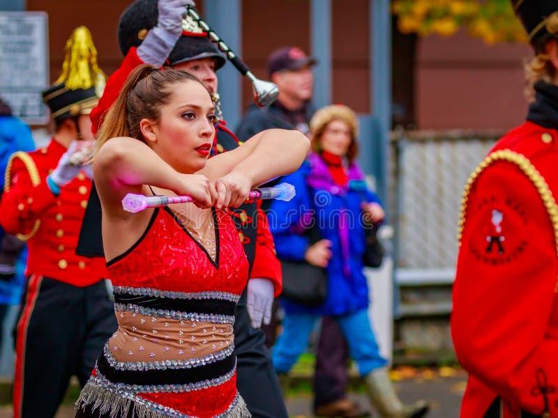 Thanksgiving Macy Parade 2016. Portland, Oregon, USA - November 25, 2016: Camas High School Marching Band in the annual My Macy's holiday Parade across Portland stock photos