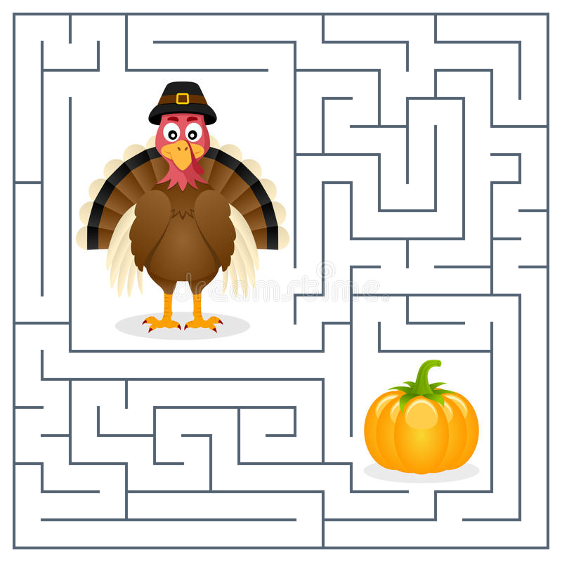 Thanksgiving Maze for Kids - Turkey. Thanksgiving maze game for children. Help the cute turkey find the way to the pumpkin to celebrate Thanksgiving Day. Eps stock illustration