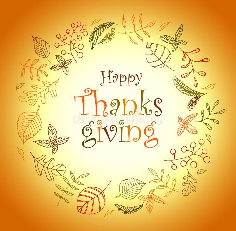 thanksgiving modèle de guirlande d'automne chute de feuille de défoliation illustration libre de droits