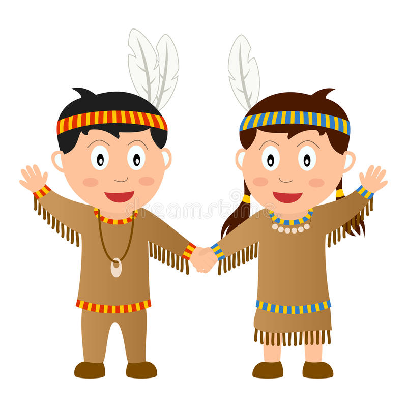 Thanksgiving Native Kids. Thanksgiving Native (or Indian) kids holding hands, isolated on white background. Eps file available vector illustration