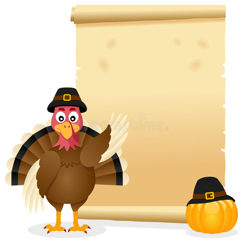 Thanksgiving Parchment with Turkey. A Thanksgiving Day invitation card with a cute turkey character, a pumpkin and an old parchment scroll. Eps file available vector illustration