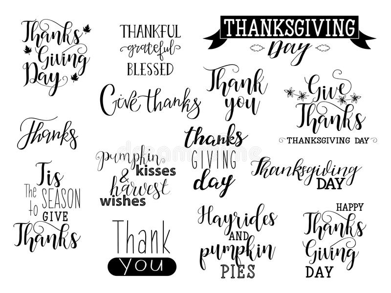 Vector Happy Thanksgiving day lettering collection. Handdrawn typography. vector illustration