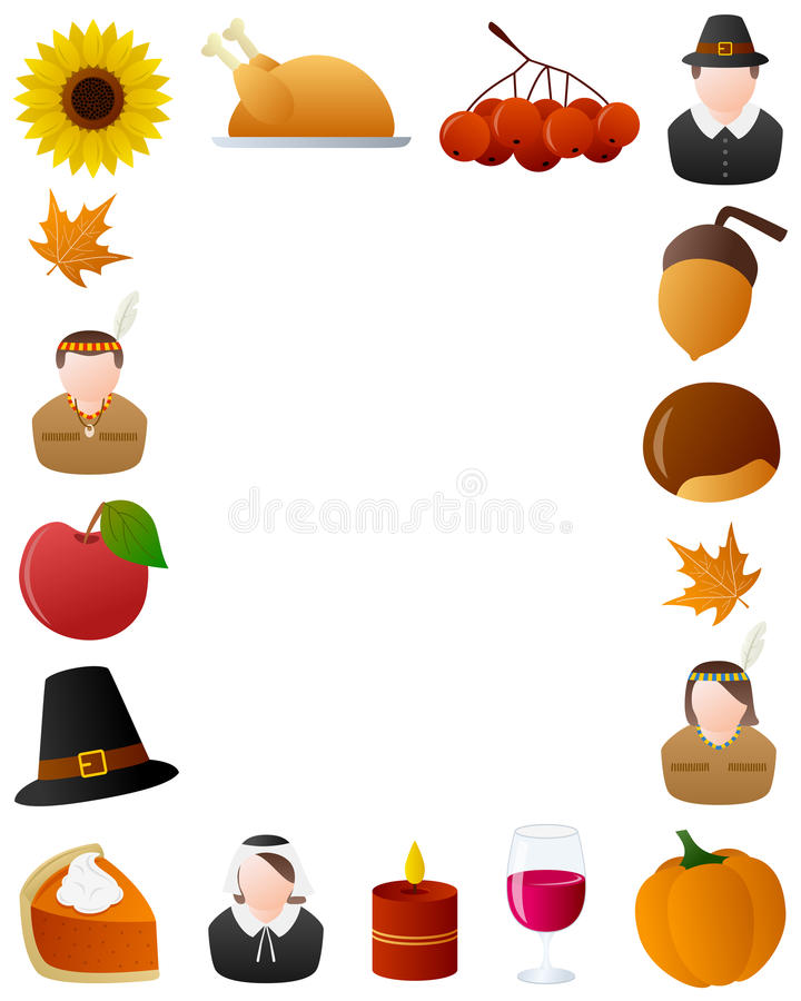 Thanksgiving Photo Frame [6]. Photo frame, post card or page for your scrapbook. Subject: Thanksgiving elements, isolated on white background. Eps file available royalty free illustration