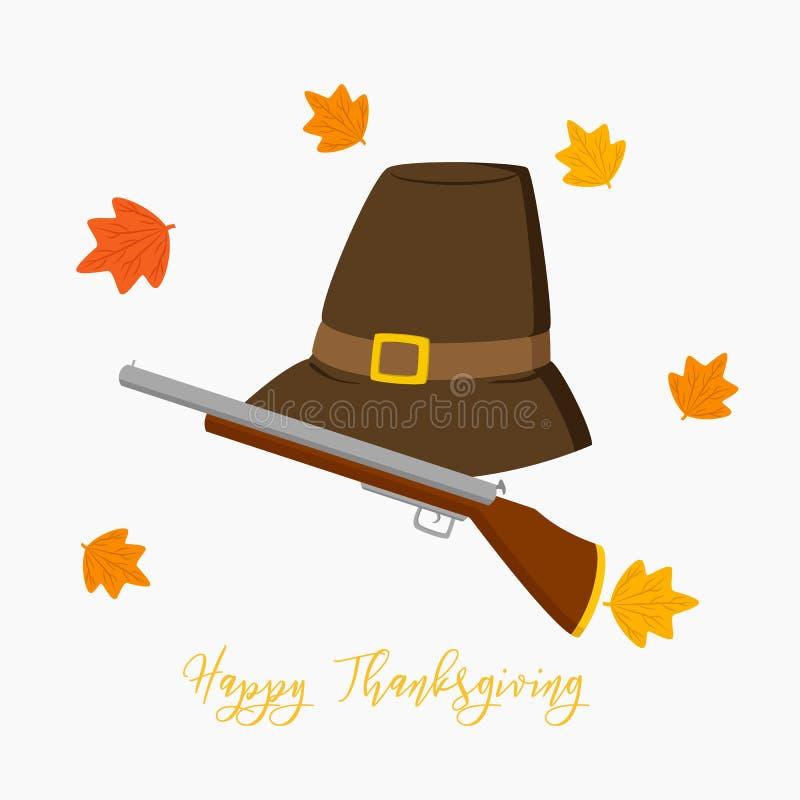 Thanksgiving Pilgrim Hat and Hunting Rifle Vector stock illustration